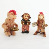 The marvelous monkeys in this collection date to the mid-20th century and operate on clockwork with wind-up keys in their backs or bellies.