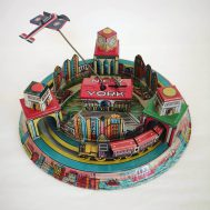 """Rare New York Honeymoon Express Windup Train Toy.  Lithographed Tin. Manufactured by Marx. Made in USA, c. 1928. 9.5"""" diameter. ID#1280"""