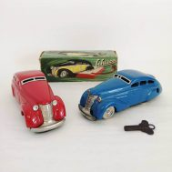 """Schuco Limousine 1010 tinplate windup car featuring Schuco's patented """"turn-back"""" mechanism. Made in US Zone Germany, c. 1945. ID#1138/988"""