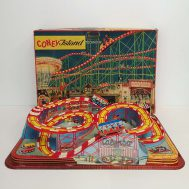 """Coney Island Roller Coaster Windup Toy. Vacuform plastic roller coaster track w/ two tin-litho cars. Manufactured by Technofix. Made in USA, c. 1950. 23"""" wide. ID#1268"""