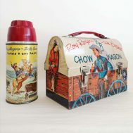 """Chow Wagon Lunchbox and Thermos.  Manufactured by The American Thermos Bottle Co. Made in USA, 1953. Lunchbox 6"""" tall. ID#960"""