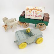 Roy Rogers Chuck Wagon and Jeep. Manufactured by Ideal. Made in USA, c. 1950. Plastic,