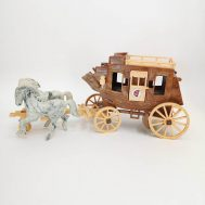 """Roy Rogers Fix-It Stagecoach. Manufactured by Ideal. Made in USA, c. 1950.  Plastic, 14"""" long."""