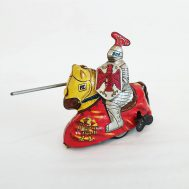 """Knight on Horse Windup Toy. Manufactured by Haji. Made in Japan, c. 1950. 4.3"""" tall. ID#893"""