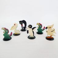 """Animal Placecard Holders. Made in Japan c. 1950s-1960s. Possibly lucite or bakelite. 2.5"""" tall each. ID#2019.3.1"""