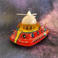 "Mercury Explorer Space Ship, tin litho & plastic, made in Japan ca. 1960. 8"" long. ID#3585"