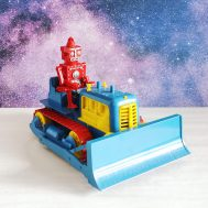 """Robert the Robot and his Remote Control Bulldozer. Manufactured by Ideal. Made in USA, c. 1955.  7"""" tall. ID#4092"""