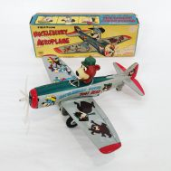 "Huckleberry Hound Yogi Bear Aeroplane. Plastic and tin-litho.  Manufactured by Marx. Made in USA, c. 1961. 9"" long.  ID#134"