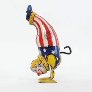"""Windup Handstand Clown. Manufactured by J. Chien. Made in USA, c. 1930-40. 4"""" tall. ID#24"""