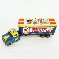"""Popeye Moving Truck. Manufactured by Marx. Made in USA, c. 1950. 12"""" long. ID#2744"""