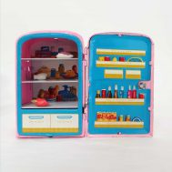 """Little Miss Kitchen Refrigerator w/ play food. Manufactured by Linemar in Japan, c. 1950. 4.8"""" high. ID#3/8"""