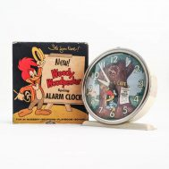 """Woody Woodpecker Alarm Clock. Manufactured by Columbia Time Productions, in the U.S.A., ca.1950. 4"""" tall.  ID#4559"""
