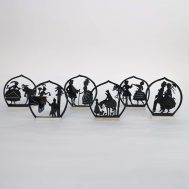 """Placecard holders, c. 1920s-30s.  Celluloid, 3.5"""" tall. ID#3921"""
