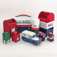 U.S Postal Service Collectibles.  Tin-litho mailbox banks, delivery van, lunch box and thermos.