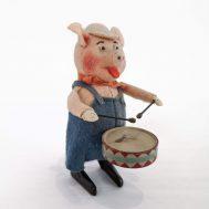 Schuco Walt Disney Windup Piggy with Drum. Made in Germany, c. 1934.