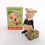Schuco Walt Disney Windup Piggy with Suitcase.  Made in Germany, c. 1934.
