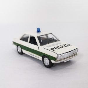 Vintage Schuco Diecast Audi 80 Polizei, white & green, 1:43 scale, model 305-634.