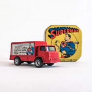 Superman Dime Bank & Daily Planet Truck. Truck made by Corgi Juniors in Great Britain ca. 1978. Bank is copyright to D.C. Comics and was made in the USA ca. 1940. ID#1008/4184