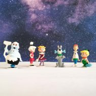 """The Jetsons Vinyl Figurines. Manufactured by Applause. Made in China, c. 1990. 2.5"""" tall. ID#1030/1031"""