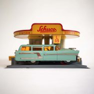 Schuco Varianto Service Station, made in US Zone Germany c. 1950. With Varianto Elektro Station Wagon. Made in Western Germany, ca. 1955. ID#1147/2737