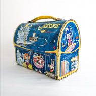 """The Jetsons Tin-Litho Lunchbox. Manufactured by Aladdin. Made in USA, 1963. 7"""" tall. ID#4180"""