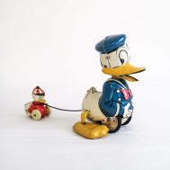 """Donald & Huey Windup Toy. Tin-litho. Manufactured by Linemar. Made in Japan, c. 1950. 5.5"""" tall. ID#4545"""