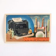 Postcard depicting the giant, 14-ton typewriter at the 1939 New York World's Fair.