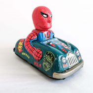 """Marx friction-powerd tin litho Marvel superheroes car, made in Japan ca. 1968. 4"""" long. ID#4134"""