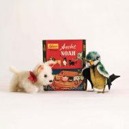 Noah's Ark Terrier and Bird. Made in Western Germany, c. 1950.