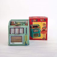 "Select-O-Matic Jukebox Mechanical Coin Bank. Manufactured in Japan by Haji, ca. 1960. 5.5"" tall. ID#4550"