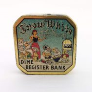 """Snow White Dime Register Bank. Made in USA, c. 1950. 2.5"""" tall. ID#1170"""