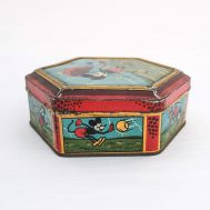 """Mickey Mouse Lithographed Tin. Made in the USA, c. 1935. 6"""" wide. ID#2151"""