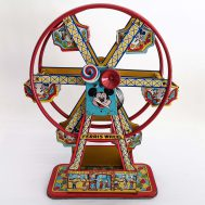 """Mickey's Ferris Wheel. Windup tin-litho ferris wheel. Manufactured by J. Chein. made in the USA, ca. 1950. 18"""" tall. ID#899"""