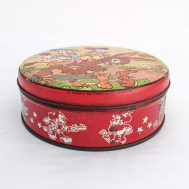 """Donald & Daffy Duck Lithographed Tin. Manufactured by Circa. Made in USA, c. 1935. 6"""" diameter. ID#4209"""