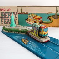 Liberty Ferry Tin-Litho Windup Toy. Manufactured by Yonezawa.  Made in Japan. c.1950.