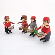 Windup Monkeys Playing Drums.  Made in Germany, c. 1930.
