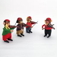 Windup Monkeys Playing Violin.  Made in Germany, c. 1930.
