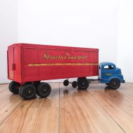 """Structo Transport Truck. Made in USA, c. 1950. 18"""" long. ID#3730"""