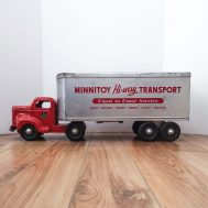"""Minnitoy Hi-Way Transport Truck. 23"""" long. Manufactured by Otaco. Made in Orillia, Ontario Canada, c. 1950. 28"""" long. ID#4258"""