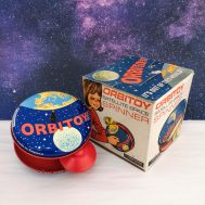 """Orbitoy Satellite Space Spinner. Manufactured by Green Monk Combex. Made in England, c. 1970. 5"""" Diameter. ID#2017.15.2"""