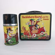 Huckleberry Hound Lunchbox and Thermos. Manufactured by Aladdin. Made in USA, 1961. ID#2989/4227