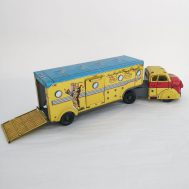 """Roy Rogers and Trigger Truck. Tin-litho. Manufactured by Linemar. Made in Japan, c. 1950. 16.5"""" long. ID#1227"""