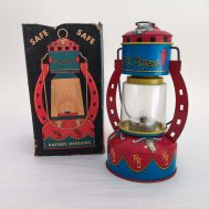 """Roy Rogers Toy Lantern. Manufactured by the Ohio Art Co. Made in USA, c. 1950.  7.5"""" tall. ID#88"""