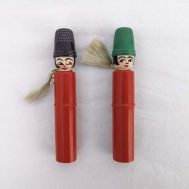 """Sewing Kits, c, 1930. Kit contains empty spool inside body and thimble as a hat. Plastic, 4"""" tall. ID#3283/3282"""
