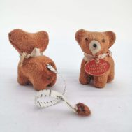 """Dog Tape Measures. Made in Japan, c.1950. Mohair, 2.5"""" tall. ID#3711/3741"""