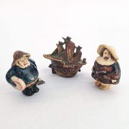 """Nautical Themed Tape Measures. Celluloid sailing ship, fisherman, and conquistador. Approx 2"""" tall each."""