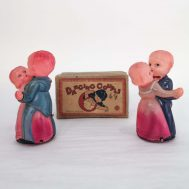 Dancing Couple Windup Toys. Manufactured by SNK. Made in occupied Japan, c. 1945. Celluloid, 5.5' tall.