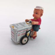 """Good Flavor Ice Cream Vendor. Manufactured by Dott GR. Made in Japan, c. 1950. Celluloid & tin-litho. 4.5"""" tall. ID#3976"""