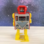 """Windup Super Robot, tin litho and plastic, manufactured by Hiro in Japan, ca. 1960. 7"""" tall. ID#4273"""