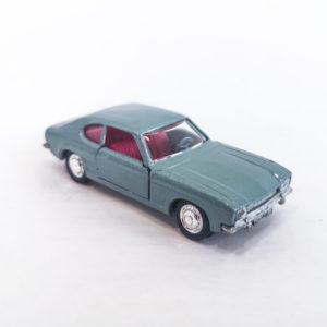 Vintage Schuco Modell Diecast Ford Capri 1700 GT. Metallic blue-grey, 1:66 scale, model 816.